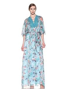 Catherine Malandrino Women's Tie-Waist Kaftan (Tropical Flower Print)