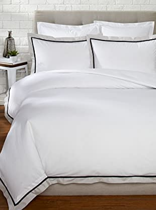 Mason Street Textiles Hotel Cuff Duvet Set (White/Steel)