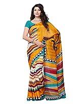 Diva Fashion-Surat Art Silk Printed Yellow Saree-Dfs389A
