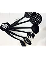 BeauT Cook N Serve PREMIUM Kitchen Tool Set,BLACK FOOD GRADE HEAT RESISTANT NYLON 6-Pieces SET-B015577