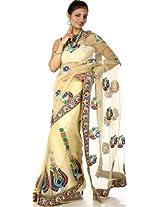 Powder-Yellow Designer Sari with Dense Crewel Embroidery and Zardozi Border - Net