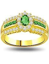 0.75ct tcw Diamond, Emerald 18kt Engagement Ring