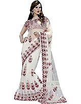 Exclusive White Wedding Lehenga Saree Embroidery Hand Work Net Sari