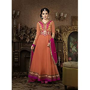 Khantil India Floor Length Anarkali Suit - Peach