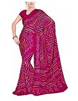 Rajlaxmi Women's Georgette Saree (Pink)