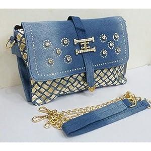 Shopping World Denim Rectangular Shaped Sling Bag- Blue