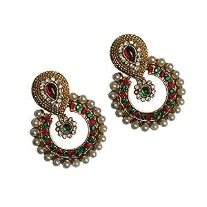 Unicorn Red & Green Metal Dangle & Drop Earring  for  Women/Girls