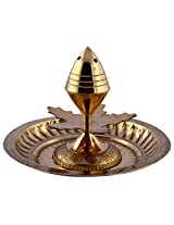 1st Home Brass Agarbathi Stand with Plate (10.5 cm x 10.5 cm x 7.5 cm, Golden)
