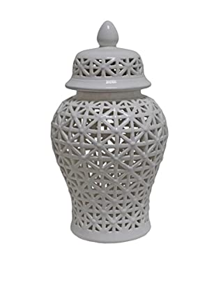 The Import Collection Teague II Ceramic Jar, White