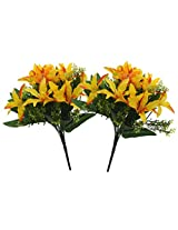 Fourwalls Artificial Mini Lillium Flower Bouquet (30 cm, Yellow, Set of 2)