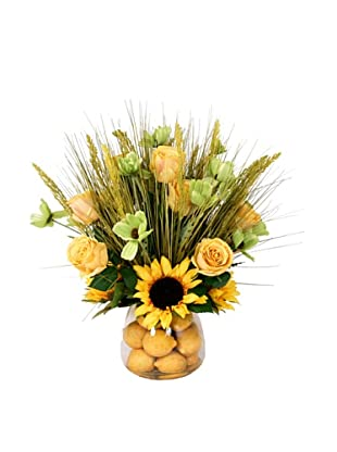 Creative Displays Yellow & Green Sunflower, Rose & Grass Floral in Lemon Glass