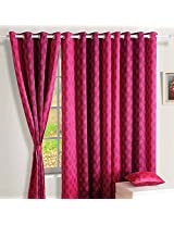 Swayam Printed Blackout Window Curtain With Eyelets - Pink