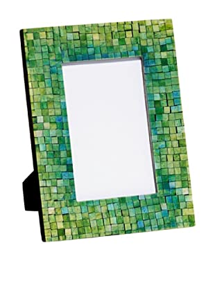 Mela Artisans Handcrafted Inlaid Bone Photo Frame, Green/Turquoise, 4