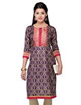 Kashish Women's Zari Kurta (9192869-Purple-Small)