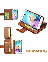 KARP Premium Quality Leather Flip Cover Case With Built-in Card Slot, Cash Compartment,Stand Feature & Magnetic Closure For Samsung Galaxy S6 Edge Plus (Brown)