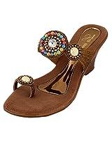 Lamere Women's Fashion Synthetic Gold Heels (LA-357) 36