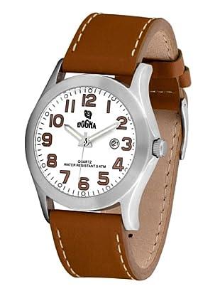 Dogma G7033 - Reloj de Caballero movimiento de quarzo con correa de piel blanco / marrón