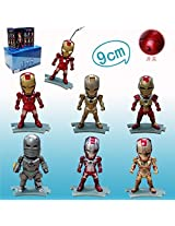 6 Piece Per Set The Avengers Iron Man Led Flash Light Pvc Action Figures Collectible Model Toys War Machine With Retail Box