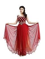 Sharmili Womens Net Fabric Ready-To-Wear Anarkali Salwar Suit with Stone & Zari Works on Velvet Yoke