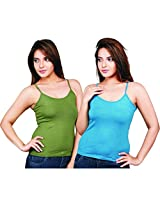Clifton Women's Camisole's Pack of 2 Pieces - Olive-Corsair - Small