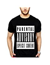 iLyk Men's Parental Advisory Explicit Content Printed T-Shirt (10974_Black_Large)