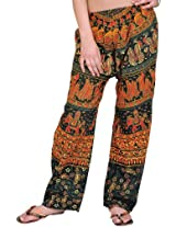Exotic India Casual Trousers from Pilkhuwa with Printed Elephants - Color Green GablesGarment Size Free Size