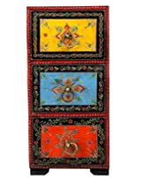 Stylish Red Wood Drawer Set Floral Hand Painted By Rajrang