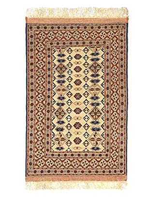 Hand-Knotted Finest Mouri Silk Rug, Brown, 3' 7