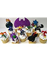 DC COMICS 12 Piece Birthday CUPCAKE Topper Set Featuring 7 RANDOM DC COMICS Superhero Characters, Includes Themed Decorative Accessories, Figures Average 1 to 2.5 Inches Tall