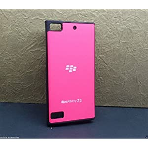 TECHNO TRENDZ DESIGNER GLOSSY SHINNY FINISHED LOGO BACK HARD SILICONE CASE COVER GUARD POUCH FOR BLACKBERRY Z3 BACK COVER FANCY IMPORTED - PINK COLOR