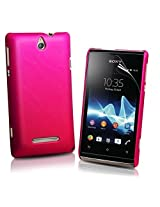 Generic Rubberised Hard Case Back Cover for SONY XPERIA E C1504 / XPERIA E DUAL C1604 - PINK