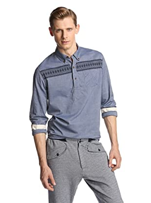 Burkman Bros Men's Nordic Embroidered Pullover (Chambray Blue)