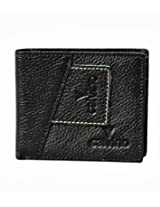 Calvino Rugged Contrast Stitch Black Men's Wallet