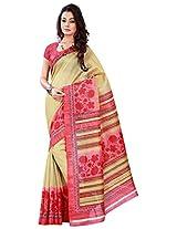 Silk Bazar Women's Tassar Silk Saree with Blouse Piece (Pink & Mustard)