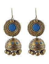 Avarna Enamel Jhumki Earrings for Women (Blue)
