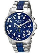 Akribos XXIV Men's AK561BU Conqueror Blue and Silver Stainless Steel Divers Chronograph Watch