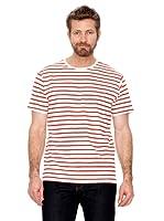 Cortefiel Camiseta Rayas (Blanco / Rojo)