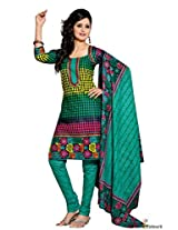 Pure Cotton Suit In Green Colour