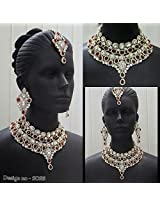 Classic Bridal Chocker Necklace Set in Maroon