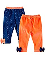 Infant Girls Leggings Pack Of 2 - Multi Colour (6 - 9 Months)