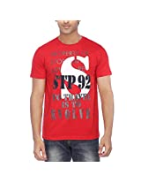Stop Men's Round Neck T-Shirt (9477363_Red_Large)