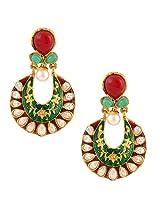 Maroon green exquisite meenakari mughal ad stone india pakistan earringCHEA0222MG