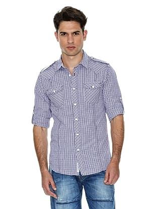 Salsa Camisa Cuadros Básica (Azul Marino / Blanco)