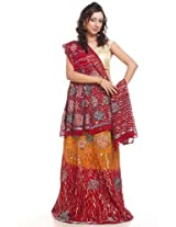 Persian red embroidery lehanga unstitched