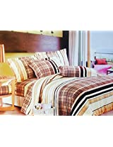 CnS BROWN CHECK BEDSHEET WITH PILLOW COVERS, KING SIZE , 100% COTTON
