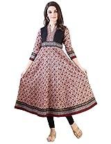 Libas Women's Printed Anarkali Kurta (1287_Multi Colour_Small)