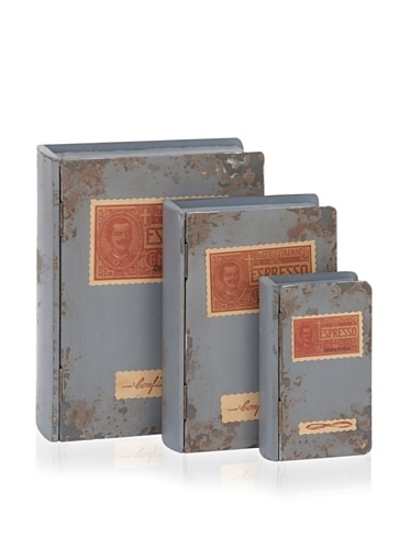Industrial Chic Set of 3 Wooden Book Boxes