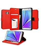 KARP Premium Quality PU Leather Flip Cover Case With Built-in Card Slot, Cash Compartment,Stand Feature & Magnetic Closure For Samsung Galaxy Note 5 (Red)