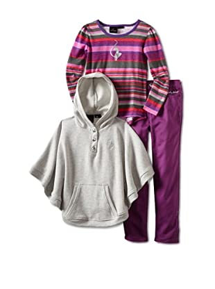 Baby Phat Girl's 3-Piece Pant, Poncho and Stripe Tunic Set (Plum)