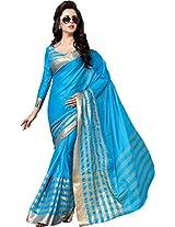 SareeStudio Sky Blue Ethnic Wear Saree Zari Work Cotton Printed Sari